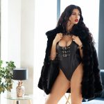 mistress antonella sexy in black leather suit and fur coat